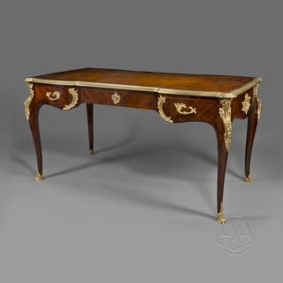 A Louis XV Style Gilt-Bronze Mounted Bureau Plat  In The Manner of Charles Cressent