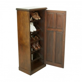 Antique Mahogany Shoe Cabinet Of Good Proportions And Paneled Door.
