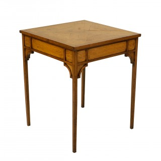 Oak Side Or Center Table With Marquetry Top On Fine Elegant Legs.