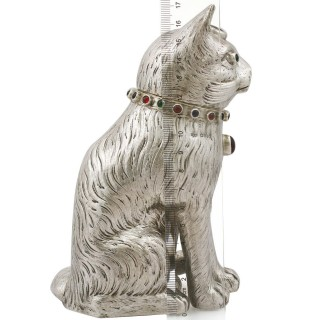 Sterling Silver Cat Sugar Box - Antique Edwardian (1903)