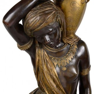 Large 19th Century Nubian Bronze Statue, by Graux-Marly
