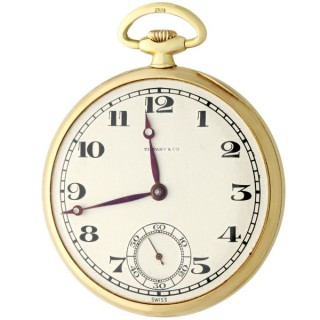18ct Yellow Gold Open-Face Pocket Watch by Tiffany & Co. - Antique 1929