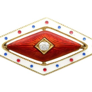 0.07ct Diamond and Enamel, 18ct Yellow Gold Brooch - Antique Victorian