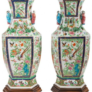 Pair of 19th Century Chinese Cantonese / Rose Medallion Vases
