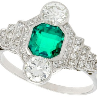 0.97ct Emerald and 1.06ct Diamond, Platinum Ring - Antique French Circa 1930