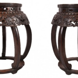 Rare Pair of Chinese Hardwood Garden Seats, 19th Century