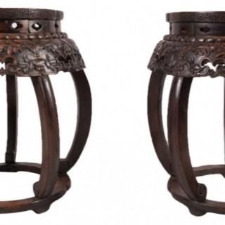 Rare Pair of Chinese Hardwood Garden Seats, 19th Century