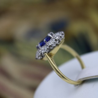 A fine 18ct Yellow Gold & Platinum 2.01ct Sapphire and Diamond Cluster Ring, Pre-owned.