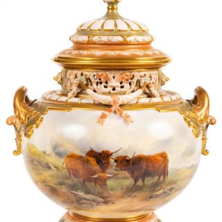 Large John Stinton Worcester Lidded Vase, with Highland Cattle