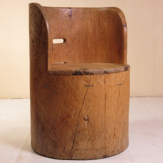 19th Century Norwegian Dug Out Chair