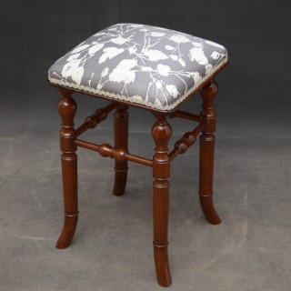 Victorian Mahogany Stool by H. Brooks & Co