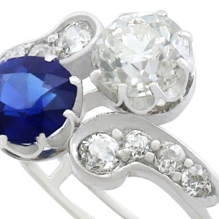 1.19 ct Sapphire and 1.28 ct Diamond, 18 ct White Gold Twist Ring - Antique Victorian