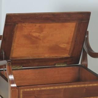 Antique English Edwardian Mahogany & Satinwood Inlaid Low Back Piano Stool (Circa 1910)