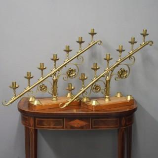 Pair of Victorian Brass 7 Light Candelabra