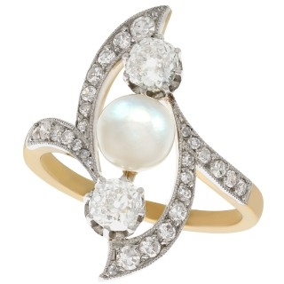 Pearl and 1.14ct Diamond, 18ct Yellow Gold and Platinum Set Dress Ring - Art Nouveau - Antique French Circa 1910