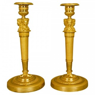 Pair of Empire Ormolu Candlesticks, circa 1820