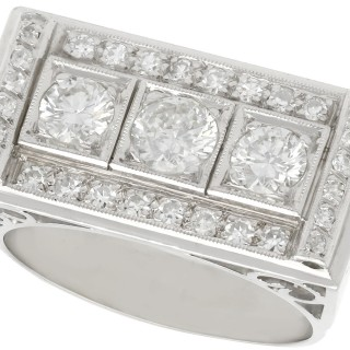 1.89 ct Diamond and Platinum Cocktail Ring - Art Deco Style - Vintage Circa 1950