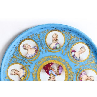 Antique 20 inch diam Sevres Porcelain Charger of Louis XVI 19th Century