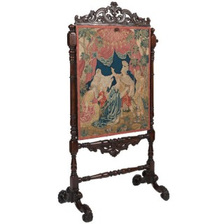 Antique Needlework And Walnut Screen, English C.1700