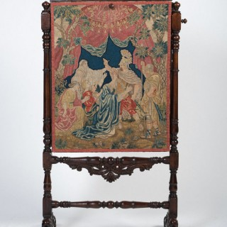 Antique Needlework And Walnut Screen, English C.1700