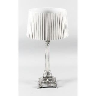 Antique Victorian Silver Plated Corinthian Column Table Lamp Ca 1880 19th C