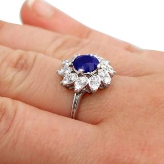 1.94ct Sapphire and 0.87ct Diamond, Platinum Dress Ring - Vintage Circa 1970