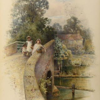Cottage scene with three girls on a bridge