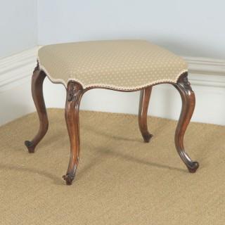 Antique English Victorian Walnut Upholstered Dressing / Foot Stool (Circa 1870)