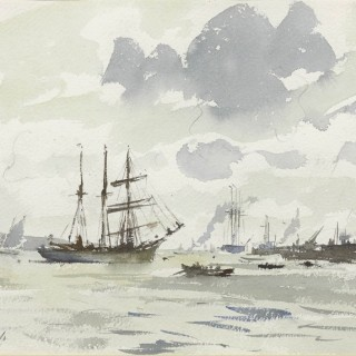 The Barquentine Gazela on the Tagus by Edward Seago RWS RBA