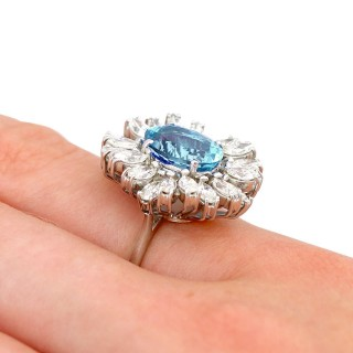 2.92ct Aquamarine and 2.83ct Diamond, 18ct White Gold Cocktail Ring - Vintage 1977