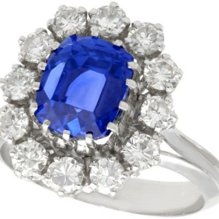 4.40 ct Sapphire and 0.96 ct Diamond, 18 ct White Gold Cluster Ring - Vintage Circa 1970