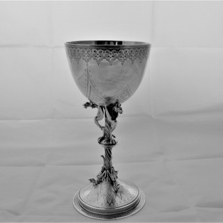 Quality Victorian silver goblet London 1874 by Frederick Elkington