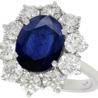 4.29ct Sapphire and 1.80ct Diamond, 18ct White Gold Cluster Ring - Vintage Circa 1980