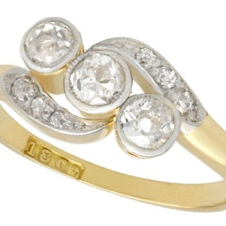 0.57ct Diamond and 18ct Yellow Gold Twist Ring - Antique Circa 1930