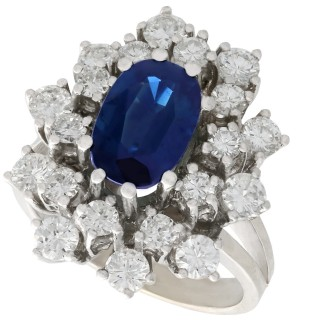 2.20 ct Sapphire and 2.54 ct Diamond, 14 ct White Gold Dress Ring - Vintage Circa 1970