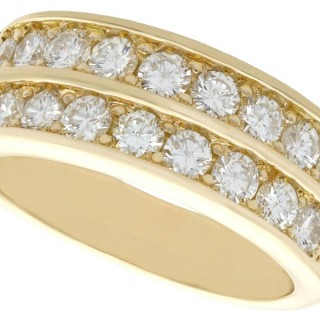 2.88ct Diamond and 18ct Yellow Gold Half Eternity Ring - Vintage French Circa 1990