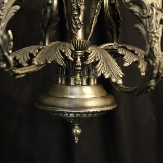 Italian Silver Gilded 10 Light Chandelier