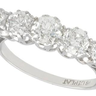 1.67ct Diamond and 18ct White Gold, Platinum Set Dress Ring - Antique Circa 1930