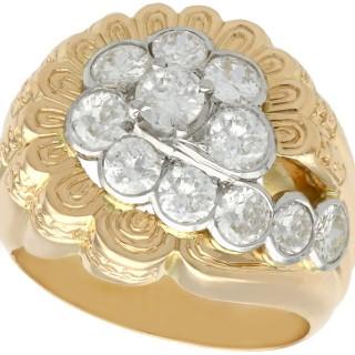 2.54ct Diamond and 18ct Yellow Gold Dress Ring - Vintage Belgian Circa 1950