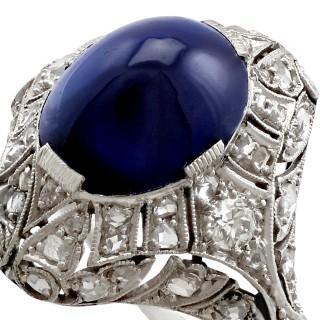 5.21ct Sapphire and 0.45ct Diamond, Platinum Dress Ring - Antique Circa 1930