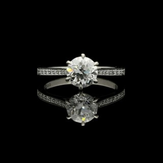 Hancocks  1.33ct Old European cut Diamond and Platinum Solitaire Ring with diamond-set shoulders