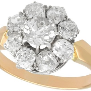 2.39 ct Diamond and 14 ct Yellow Gold Cluster Ring - Antique Circa 1910