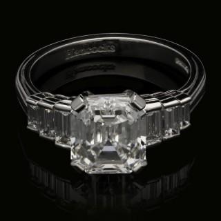 Hancocks Diamond and Platinum Ring set with a 2.38ct Vintage Emerald Cut Diamond