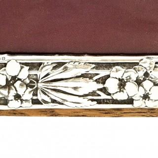 Antique Art Nouveau Sterling Silver Photo Frame 1904 - Birds