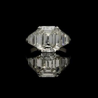 Hancocks 5.01ct Emerald-cut Diamond and Platinum Ring with trapezoid diamond shoulders
