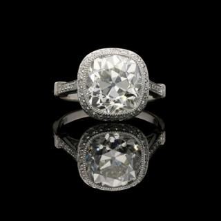 Hancocks 4.51ct Old Mine Brilliant cut Diamond and Platinum ring with diamond set mount