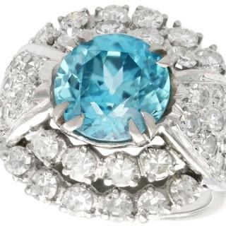 5.70 ct High Zircon and 3.15 ct Diamond, 18 ct White Gold Dress Ring - Vintage Circa 1950