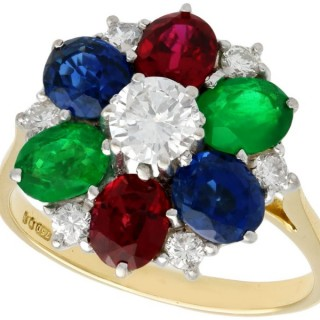 Sapphire, Emerald, Garnet, Diamond and 18 ct Yellow Gold Cluster Ring - Vintage 1987