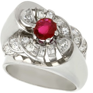 0.90 ct Ruby and 0.48 ct Diamond, Platinum Cocktail Ring - Vintage French Circa 1940