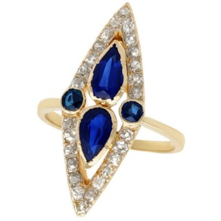 1.35 ct Sapphire and 1.32 ct Diamond, 15 ct Yellow Gold Marquise Ring - Antique Victorian